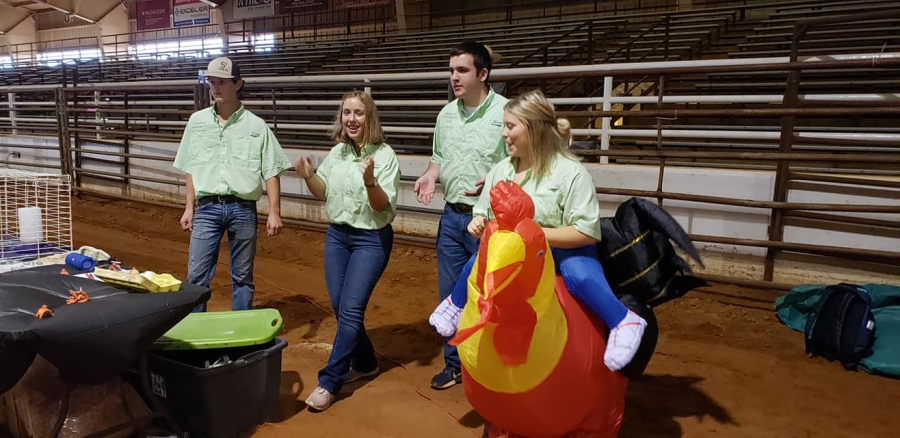 Central Heights FFA officers teach fourth graders about the chicken industry.