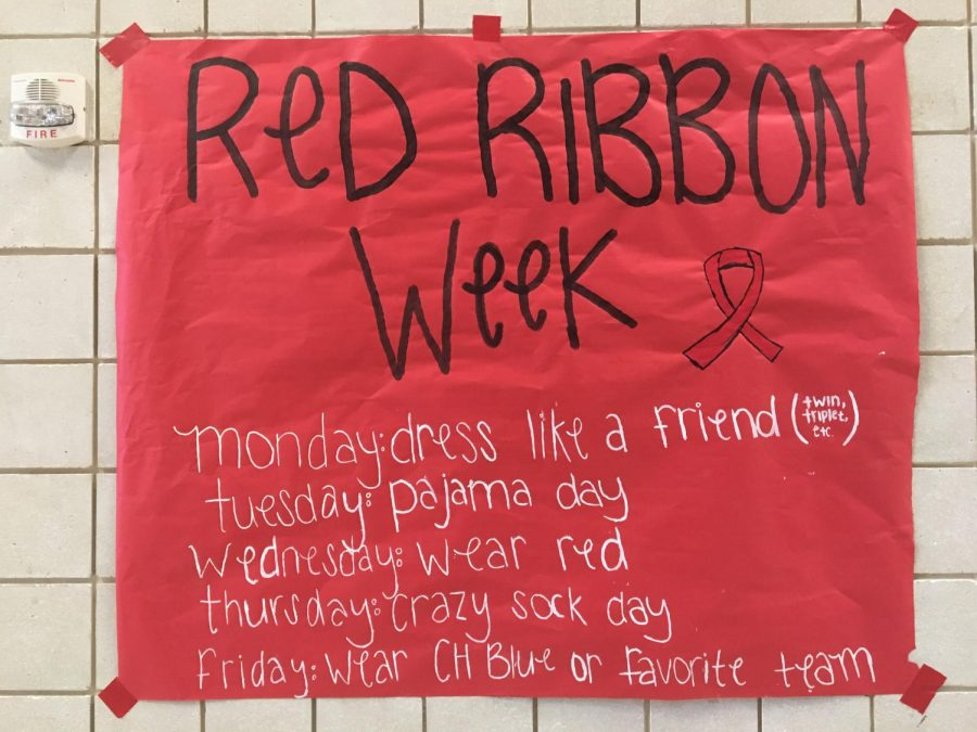 A Red Ribbon Week poster created by Junior Castaneda, Jordan Engstom, and Madison Dauenhauer.