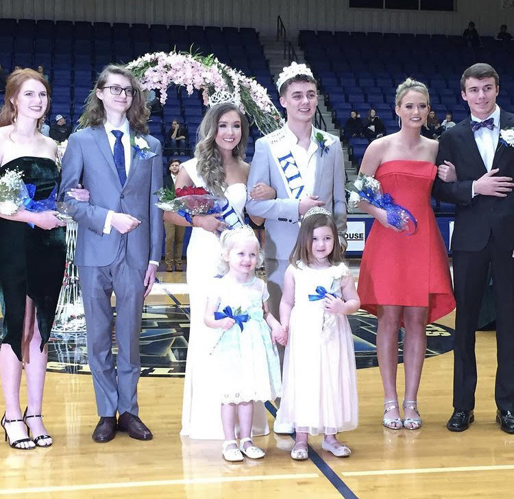 2020's homecoming court poses after coronation. (Front row left to right) Fallon Estes, Rozlyn Graff (Back row left to right) Grace Haley, Aidan LaGraff, Madison Godfried, Trent Fuller, Bailee Hudson, Dayton Yates