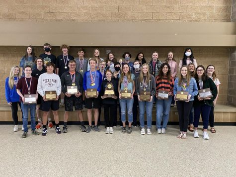 Central Heights High School UIL district academic medalists, front row, from left are Lindsey Grier, Noah Wood, Nick West, Brandon Turnage, Jason Harris, Jacob Jolley, Kobi Smith, Taylar Russell, Nolan Shrewsbury, Hadley Watts, Connor Rudolph, Ellie Davis, Juliette Lostrocco, Mallory Richardson, Georgia Page, Caitrin Dalton, and Elissa Bicknell; second row, Ellie Sullivan, Will Sams, Cole Windham, David Coleman, Hannah Wurtz, Kylie Gast, Alanna Lewis-Lockett, Katy Jacks, Trinity Creamer, and Paris Ngo.