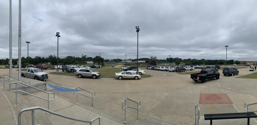 A panoramic photo of the Central Heights parking lot