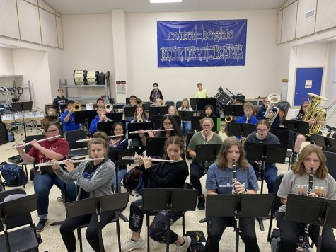 The high school band practicing a song.
